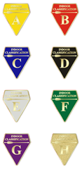 Indoor classification badges.